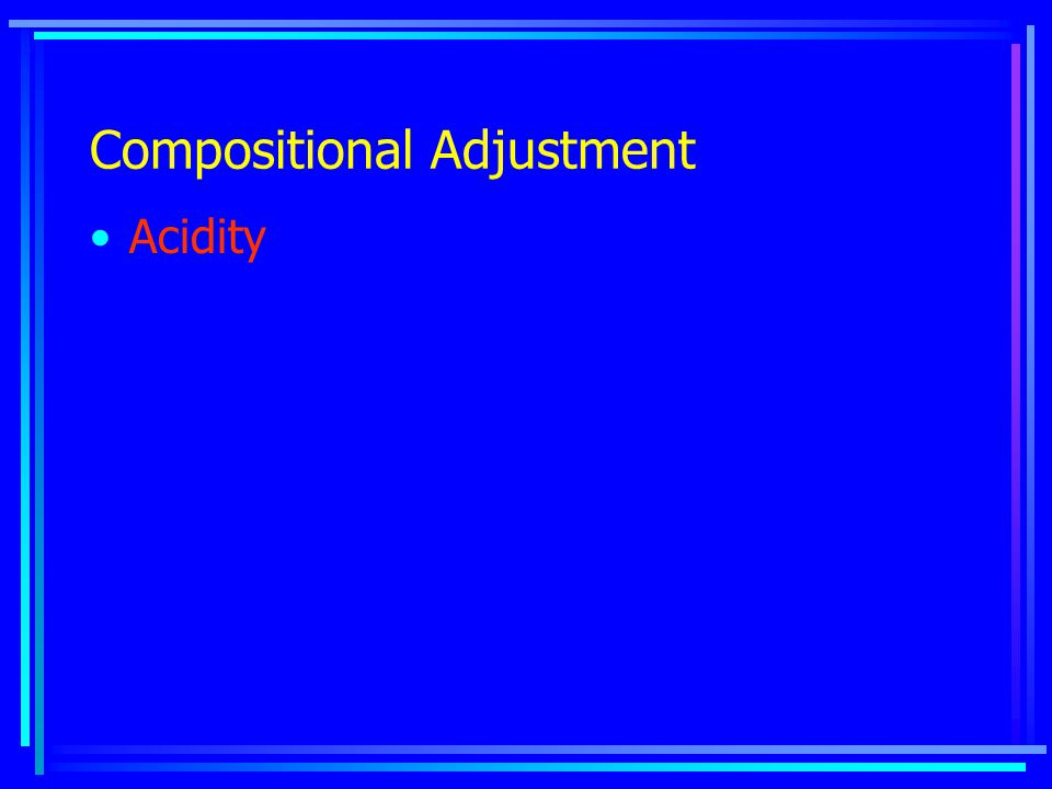 Compositional Adjustment Acidity