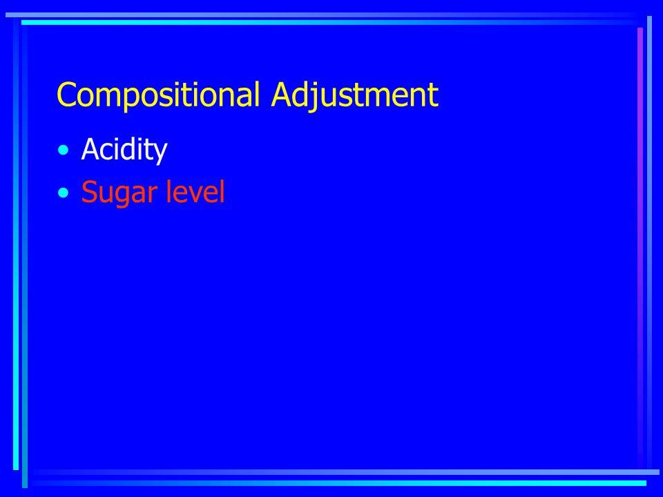 Compositional Adjustment Acidity Sugar level