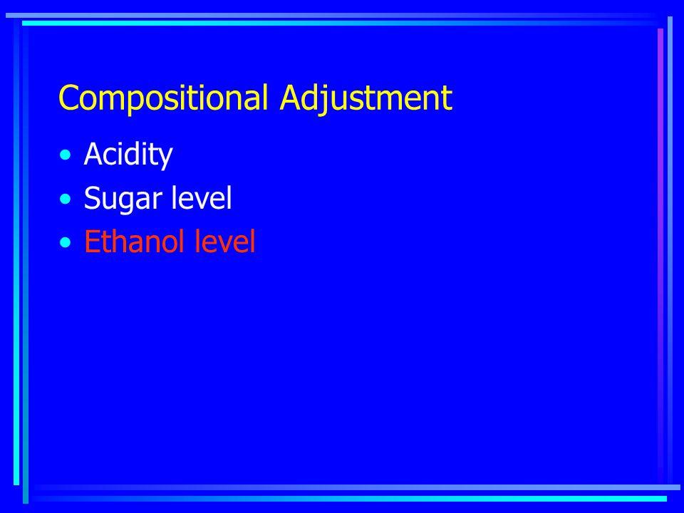 Compositional Adjustment Acidity Sugar level Ethanol level