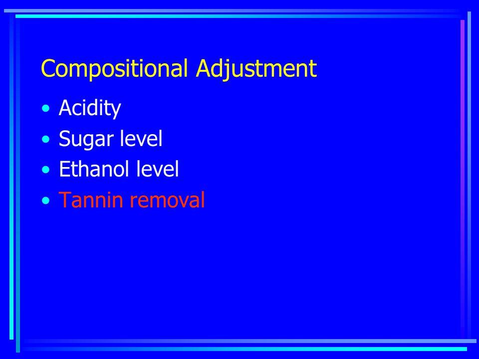 Compositional Adjustment Acidity Sugar level Ethanol level Tannin removal
