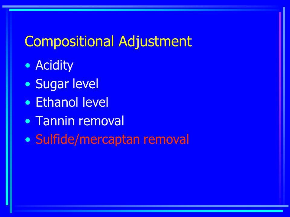 Compositional Adjustment Acidity Sugar level Ethanol level Tannin removal Sulfide/mercaptan removal