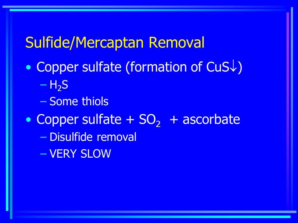 Sulfide/Mercaptan Removal Copper sulfate (formation of CuS  ) –H 2 S –Some thiols Copper sulfate + SO 2 + ascorbate –Disulfide removal –VERY SLOW