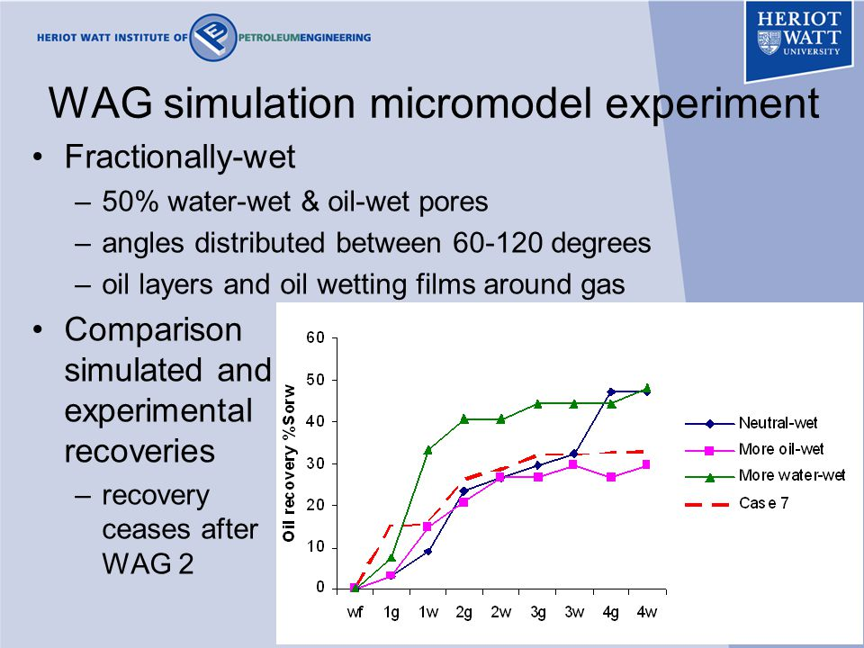 42 WAG simulation micromodel experiment Fractionally-wet –50% water-wet & oil-wet pores –angles distributed between 60-120 degrees –oil layers and oil wetting films around gas Comparison simulated and experimental recoveries –recovery ceases after WAG 2