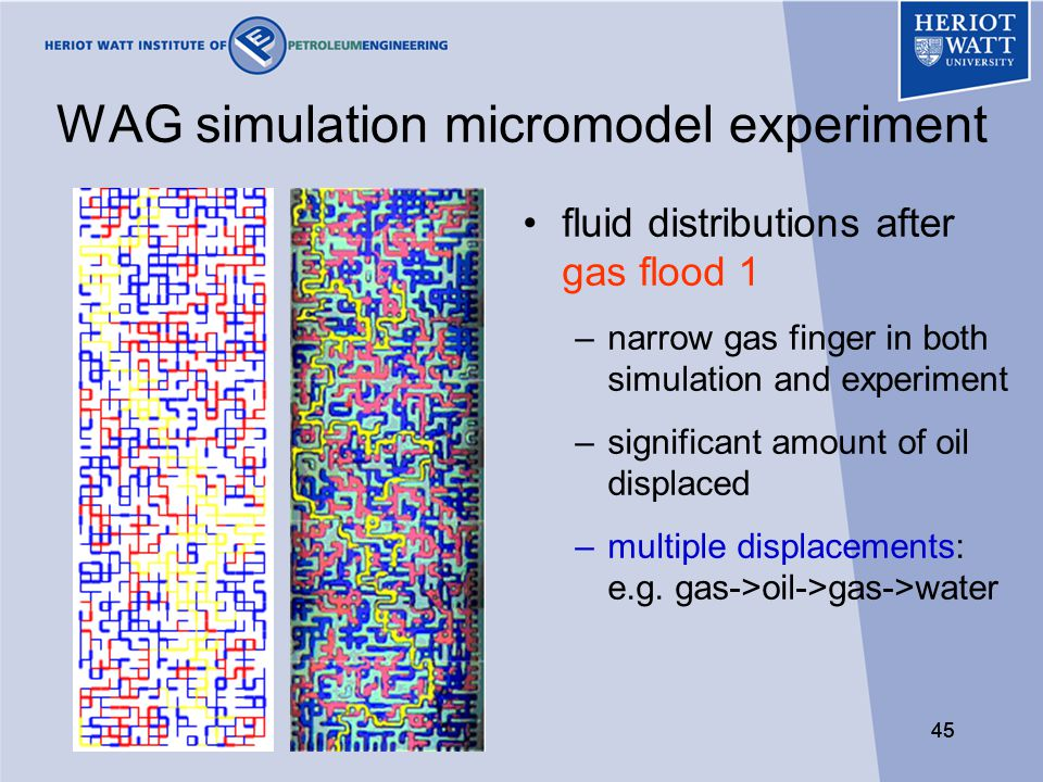 45 WAG simulation micromodel experiment fluid distributions after gas flood 1 –narrow gas finger in both simulation and experiment –significant amount of oil displaced –multiple displacements: e.g.