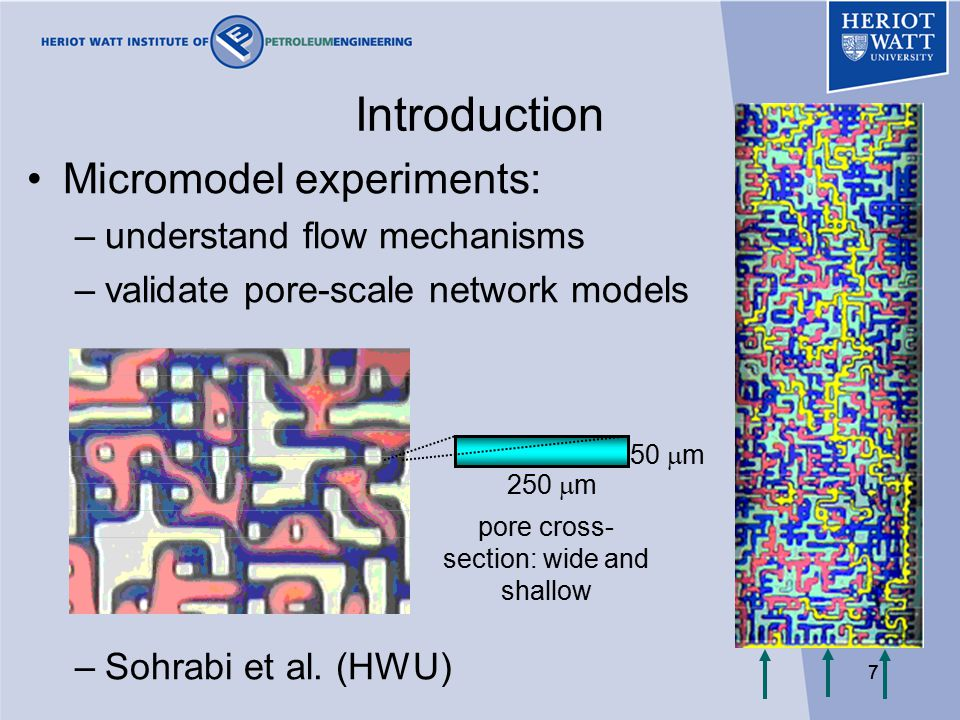 77 Introduction Micromodel experiments: –understand flow mechanisms –validate pore-scale network models –Sohrabi et al.