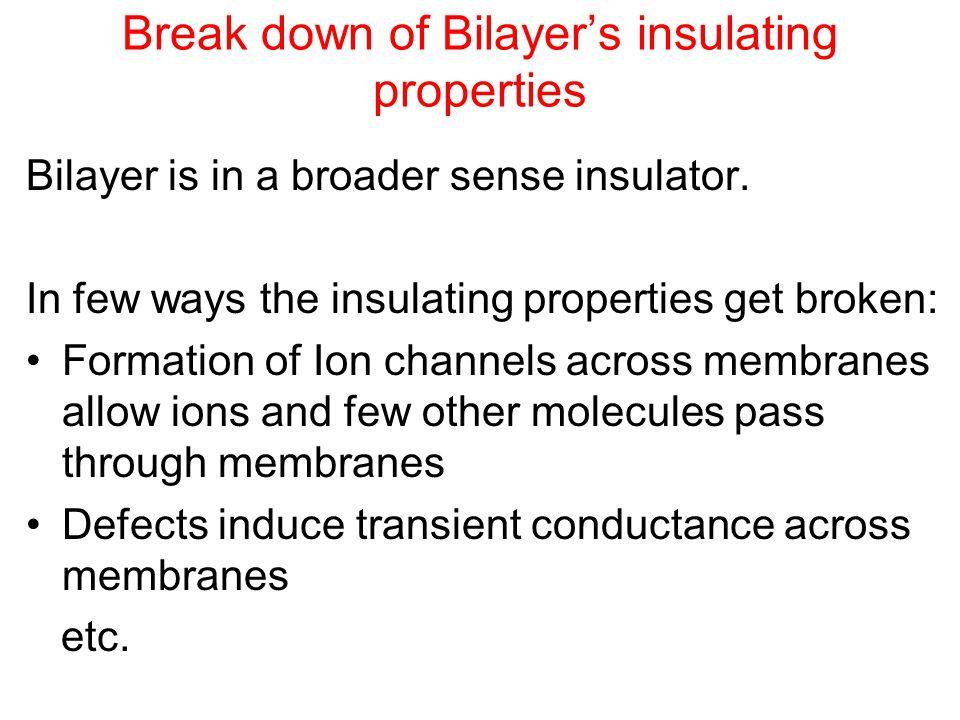 Break down of Bilayer's insulating properties Bilayer is in a broader sense insulator.