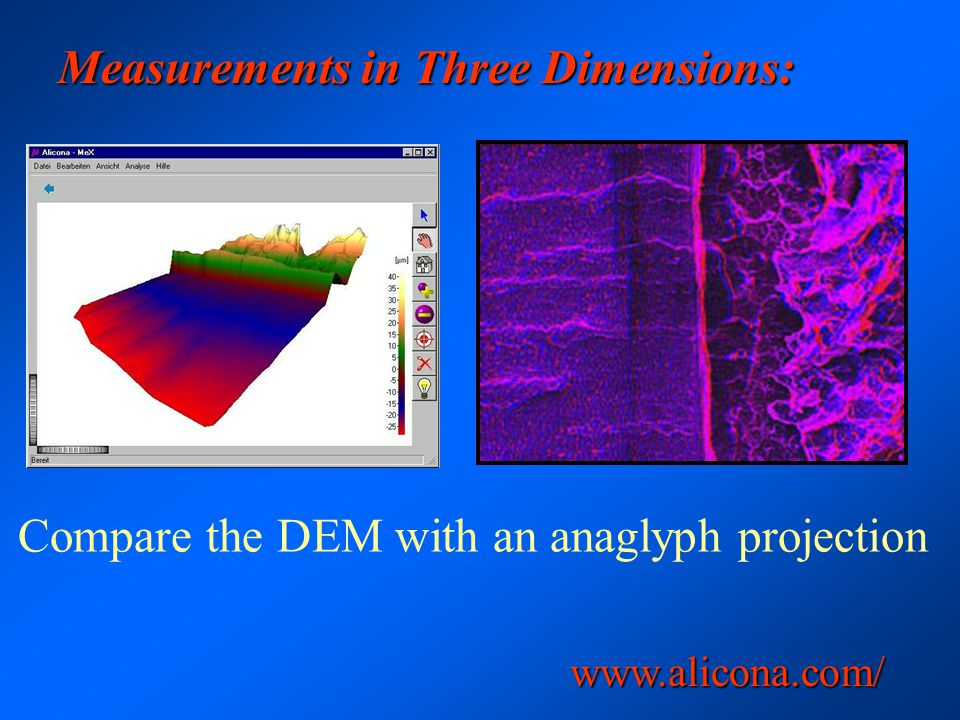 Measurements in Three Dimensions: Compare the DEM with an anaglyph projection www.alicona.com/