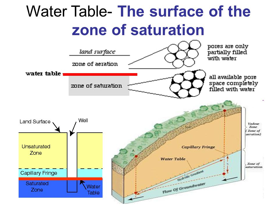 Water Table- The surface of the zone of saturation