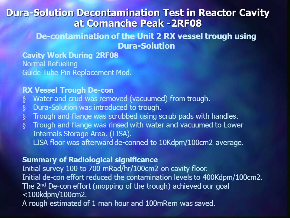 Conclusion: Westinghouse experienced no personal contamination events during the RX Head tensioning.