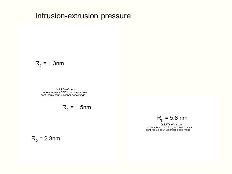 Intrusion-extrusion pressure R p = 1.3nm R p = 1.5nm R p = 2.3nm R p = 5.6 nm