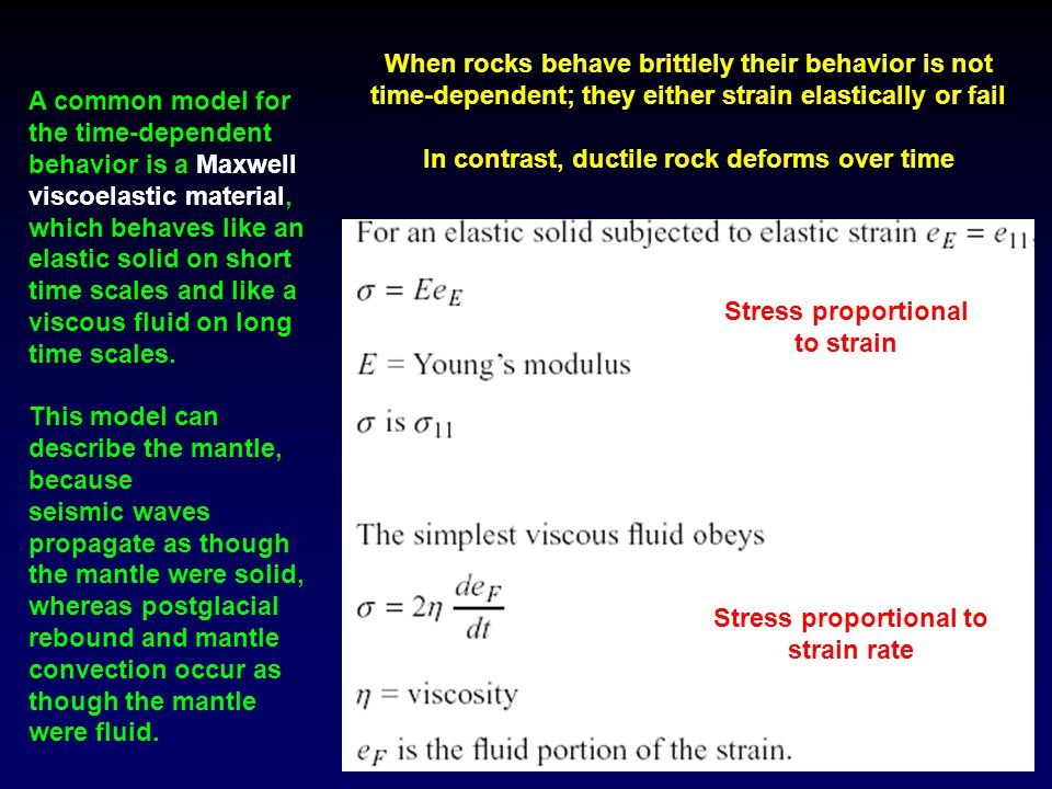 When rocks behave brittlely their behavior is not time-dependent; they either strain elastically or fail In contrast, ductile rock deforms over time A