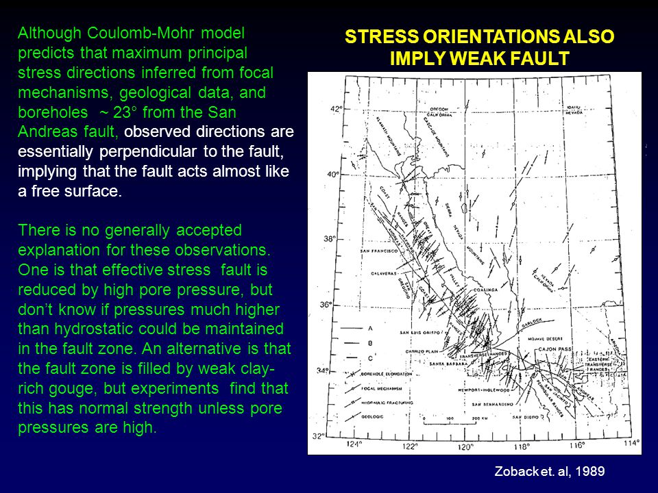 Although Coulomb-Mohr model predicts that maximum principal stress directions inferred from focal mechanisms, geological data, and boreholes ~ 23° fro