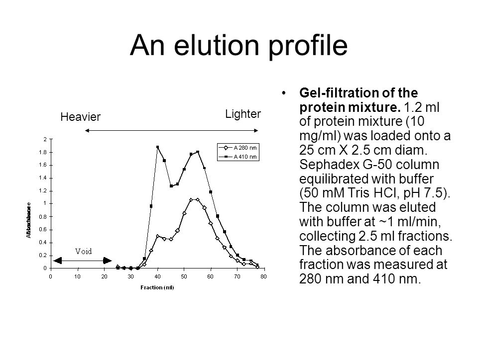 An elution profile Gel-filtration of the protein mixture. 1.2 ml of protein mixture (10 mg/ml) was loaded onto a 25 cm X 2.5 cm diam. Sephadex G-50 co