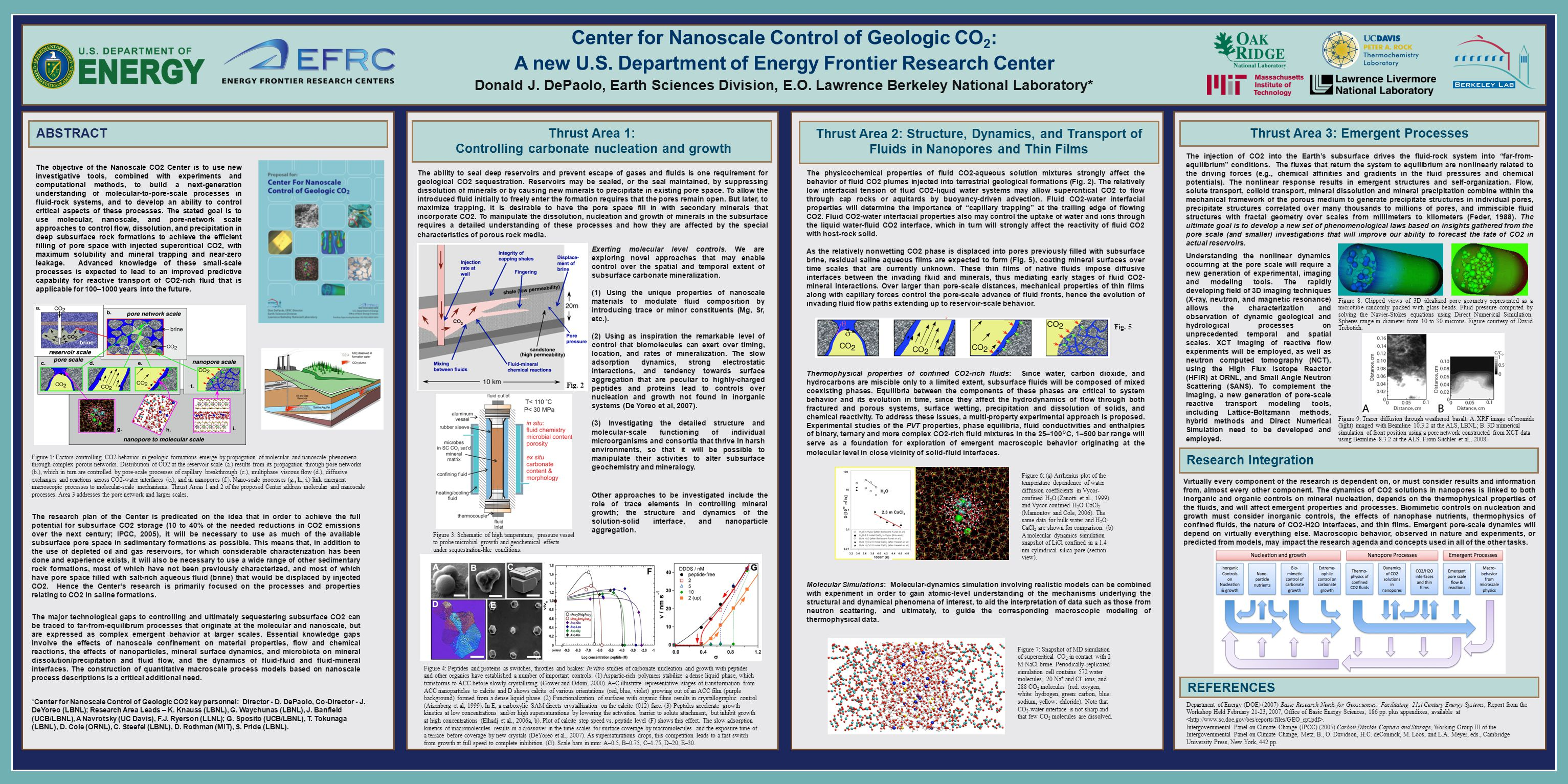 Center for Nanoscale Control of Geologic CO 2 : A new U.S. Department of Energy Frontier Research Center Donald J. DePaolo, Earth Sciences Division, E