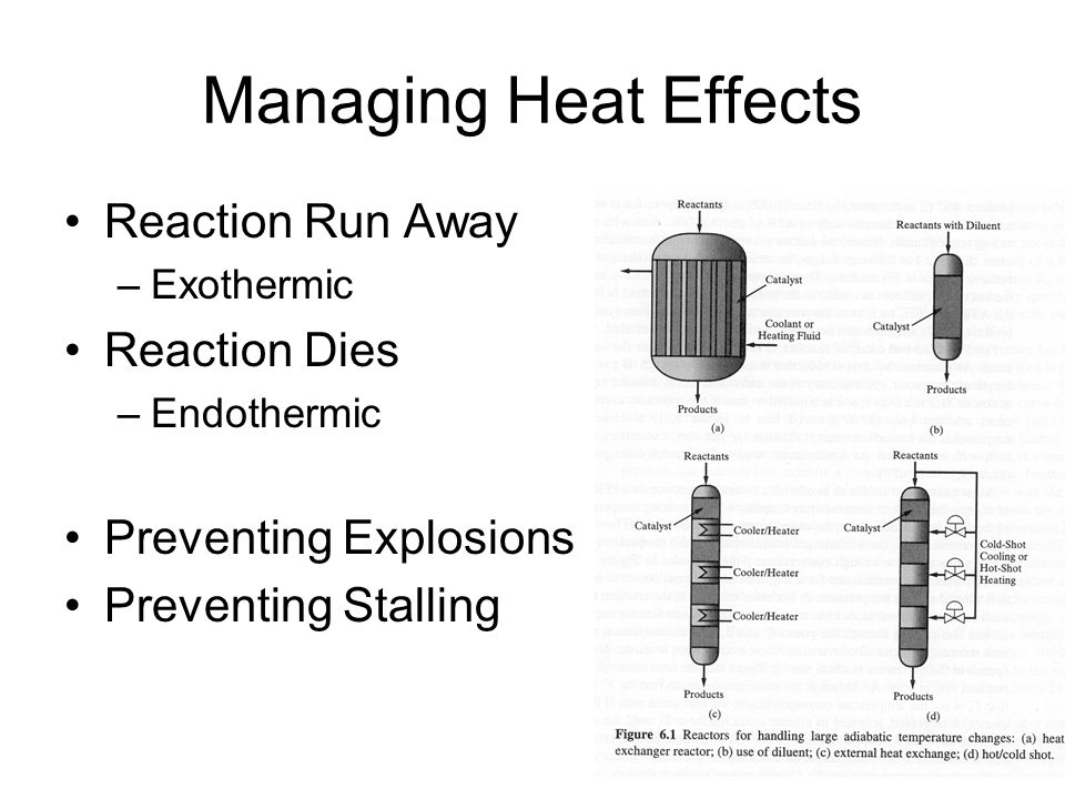 Managing Heat Effects Reaction Run Away –Exothermic Reaction Dies –Endothermic Preventing Explosions Preventing Stalling
