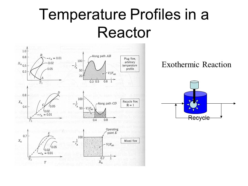 Temperature Profiles in a Reactor Exothermic Reaction Recycle