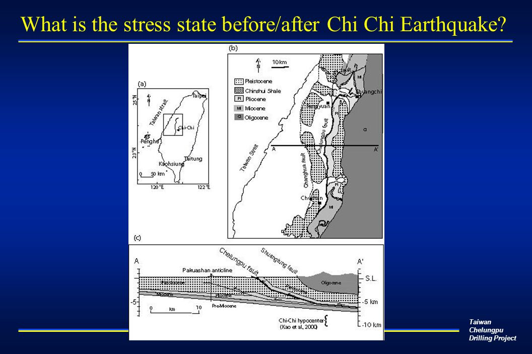 Taiwan Chelungpu Drilling Project What is the stress state before/after Chi Chi Earthquake?