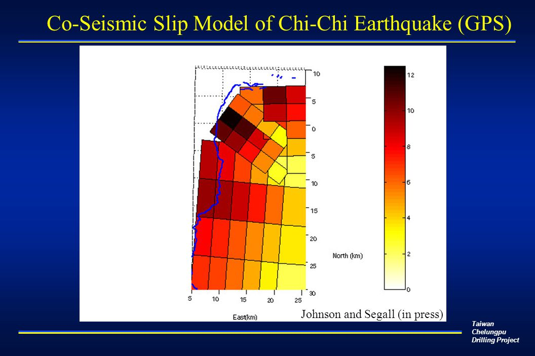 Taiwan Chelungpu Drilling Project Johnson and Segall (in press) Co-Seismic Slip Model of Chi-Chi Earthquake (GPS)