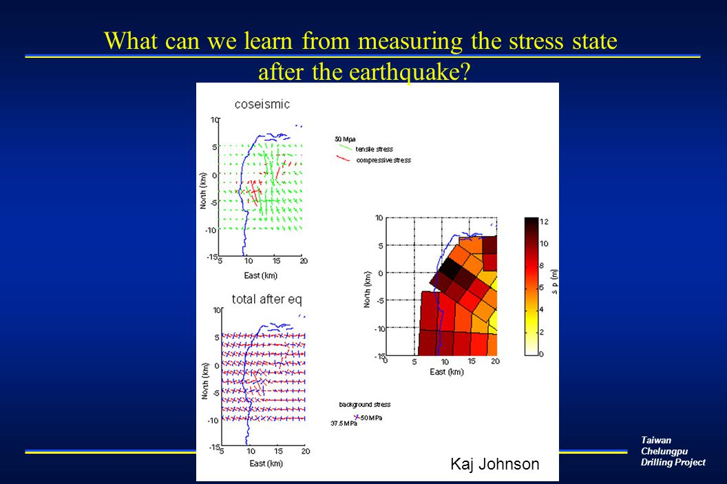 Taiwan Chelungpu Drilling Project What can we learn from measuring the stress state after the earthquake? Kaj Johnson