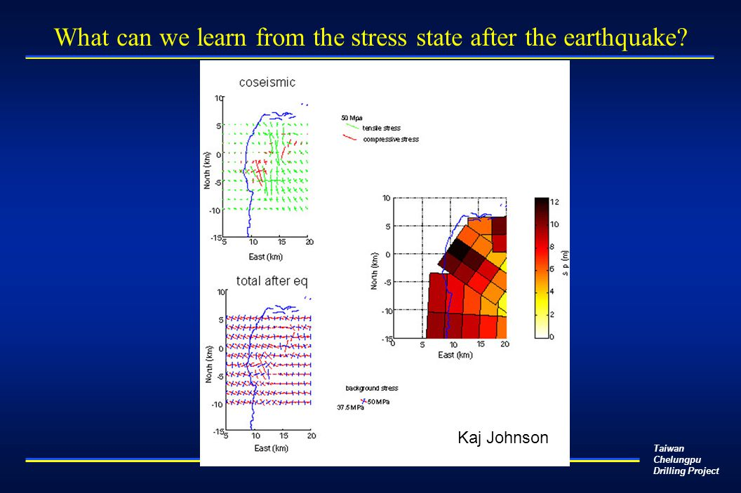 Taiwan Chelungpu Drilling Project What can we learn from the stress state after the earthquake? Kaj Johnson