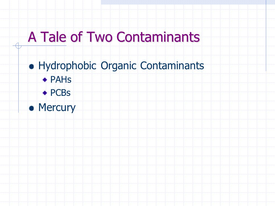 A Tale of Two Contaminants Hydrophobic Organic Contaminants PAHs PCBs Mercury