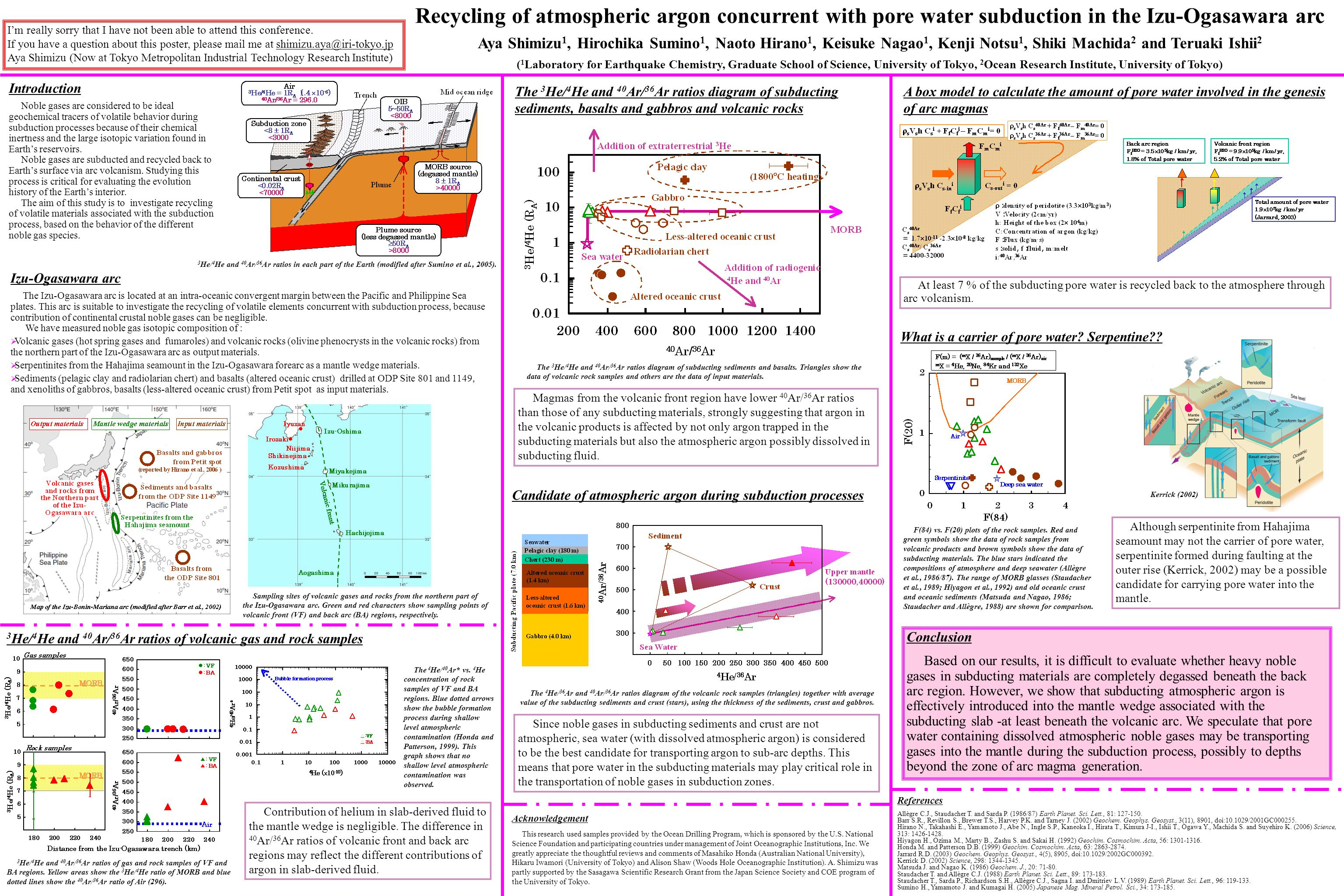 Conclusion Based on our results, it is difficult to evaluate whether heavy noble gases in subducting materials are completely degassed beneath the back arc region.