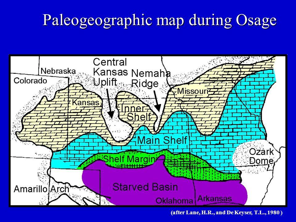 Paleogeographic map during Osage (after Lane, H.R., and De Keyser, T.L., 1980 )