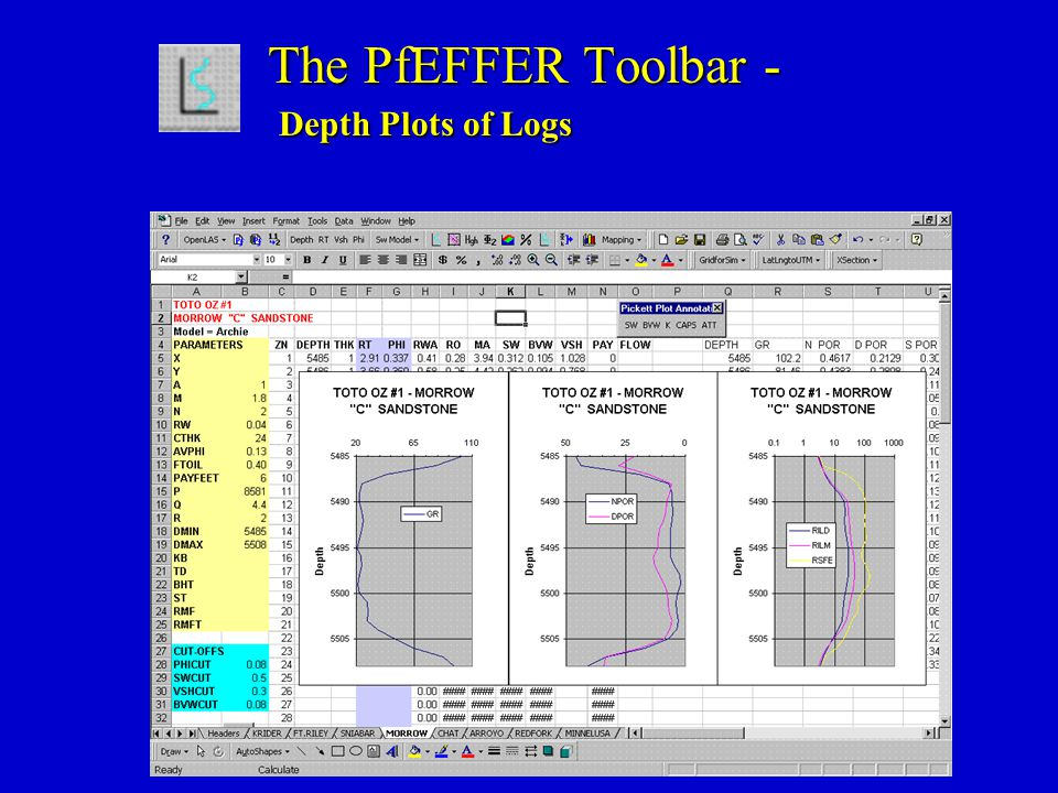 The PfEFFER Toolbar - Depth Plots of Logs The PfEFFER Toolbar - Depth Plots of Logs