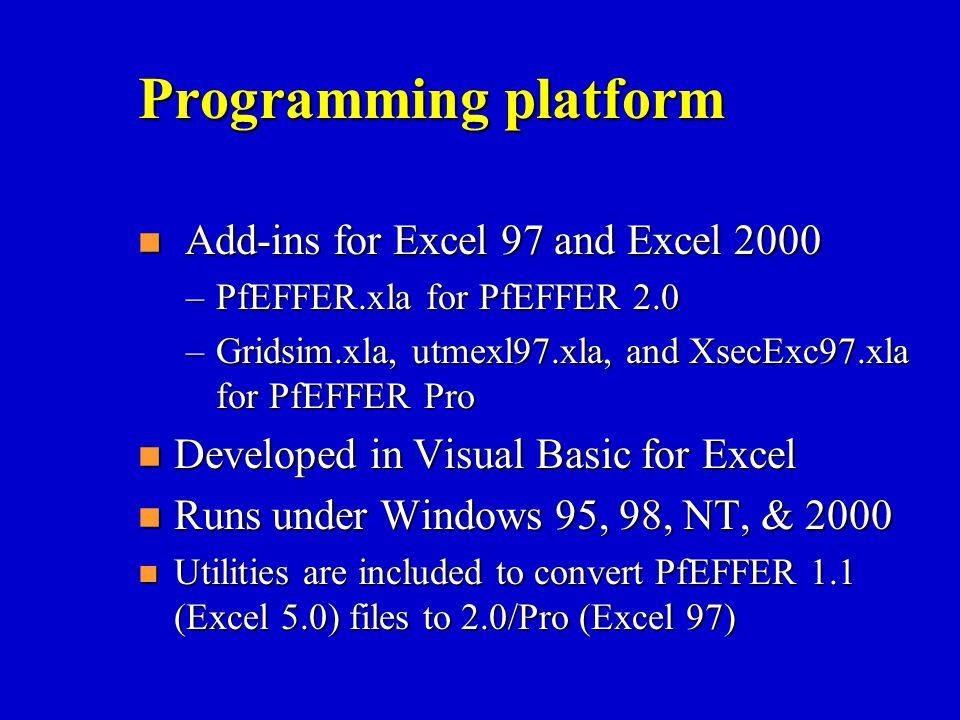 Programming platform n Add-ins for Excel 97 and Excel 2000 –PfEFFER.xla for PfEFFER 2.0 –Gridsim.xla, utmexl97.xla, and XsecExc97.xla for PfEFFER Pro