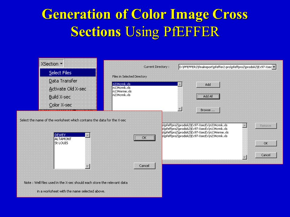 Generation of Color Image Cross Sections Using PfEFFER