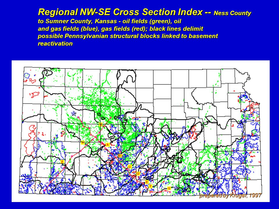 * * Regional NW-SE Cross Section Index -- Ness County to Sumner County, Kansas - oil fields (green), oil and gas fields (blue), gas fields (red); blac