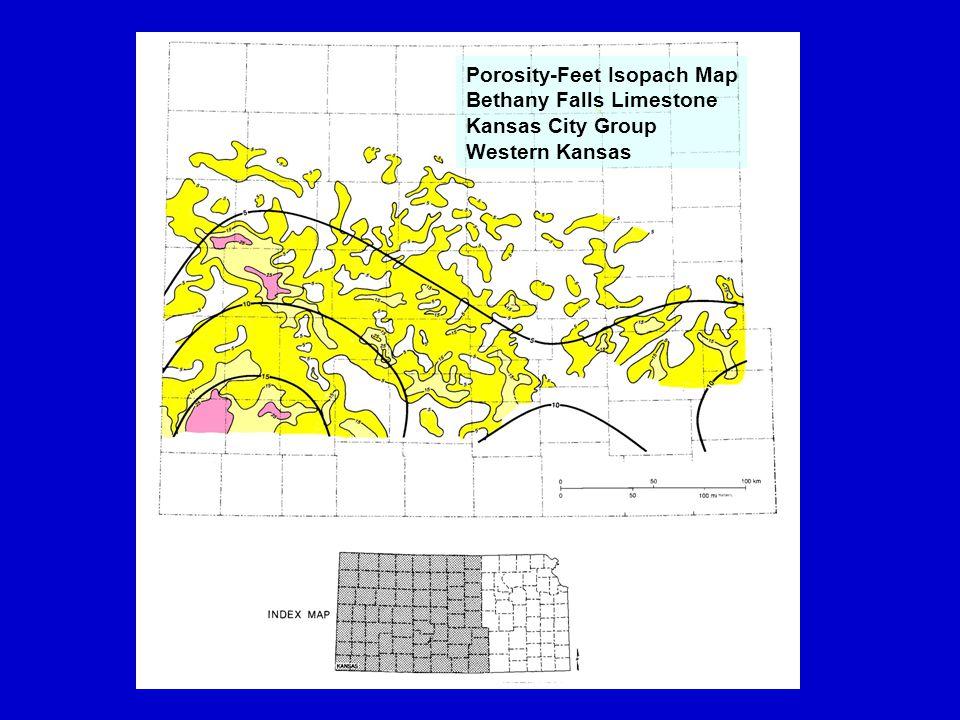 `100 mi Porosity-Feet Isopach Map Bethany Falls Limestone Kansas City Group Western Kansas