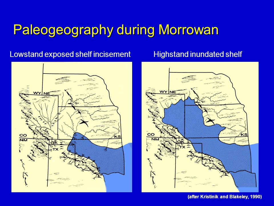 Paleogeography during Morrowan (after Kristinik and Blakeley, 1990) Lowstand exposed shelf incisementHighstand inundated shelf