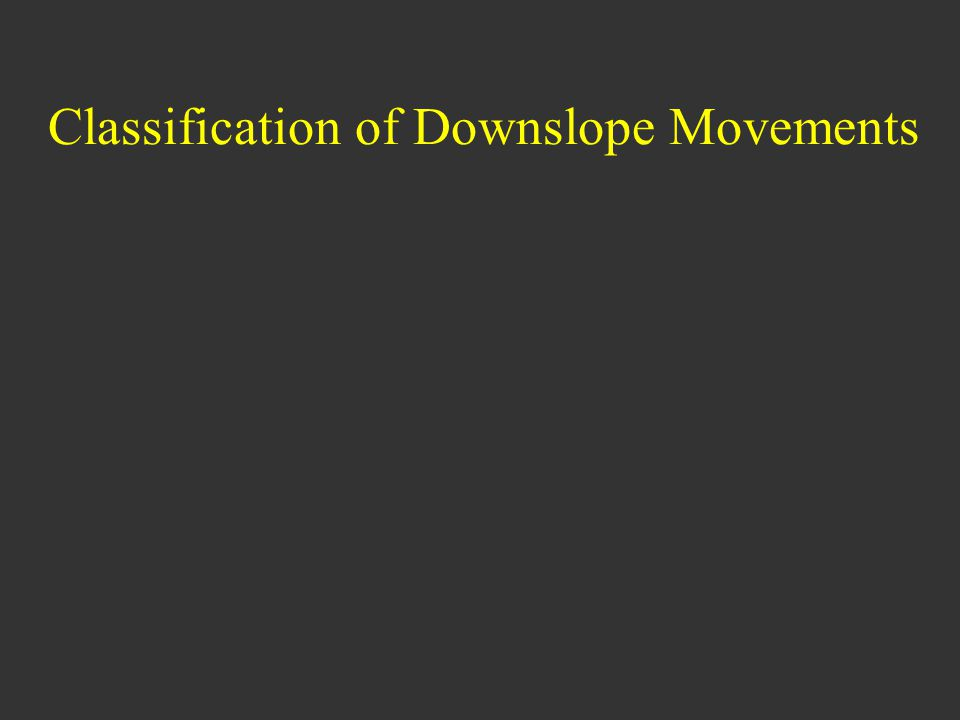 Classification of Downslope Movements