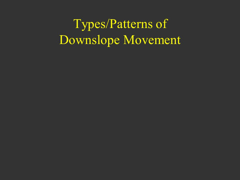 Types/Patterns of Downslope Movement