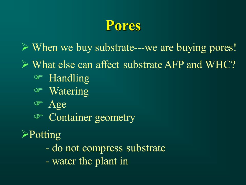Pores  When we buy substrate---we are buying pores.