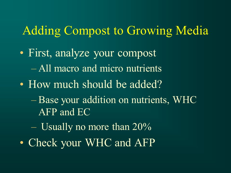 Adding Compost to Growing Media First, analyze your compost –All macro and micro nutrients How much should be added.