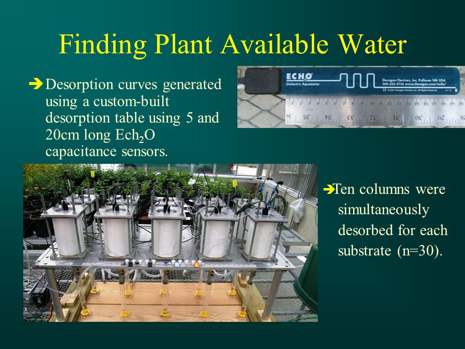 Finding Plant Available Water  Desorption curves generated using a custom-built desorption table using 5 and 20cm long Ech 2 O capacitance sensors.