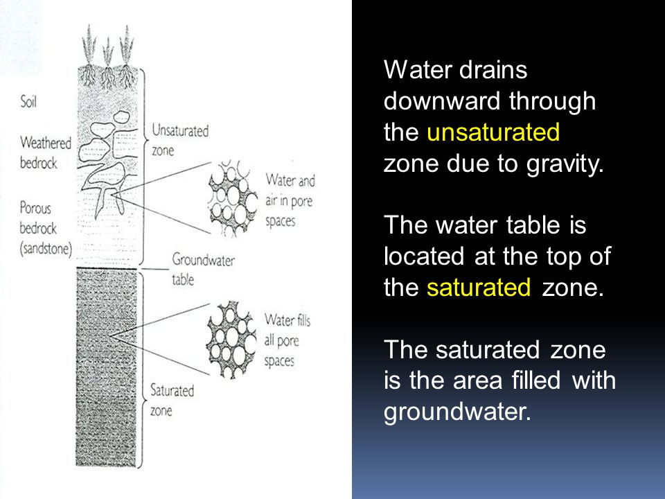 Water drains downward through the unsaturated zone due to gravity.