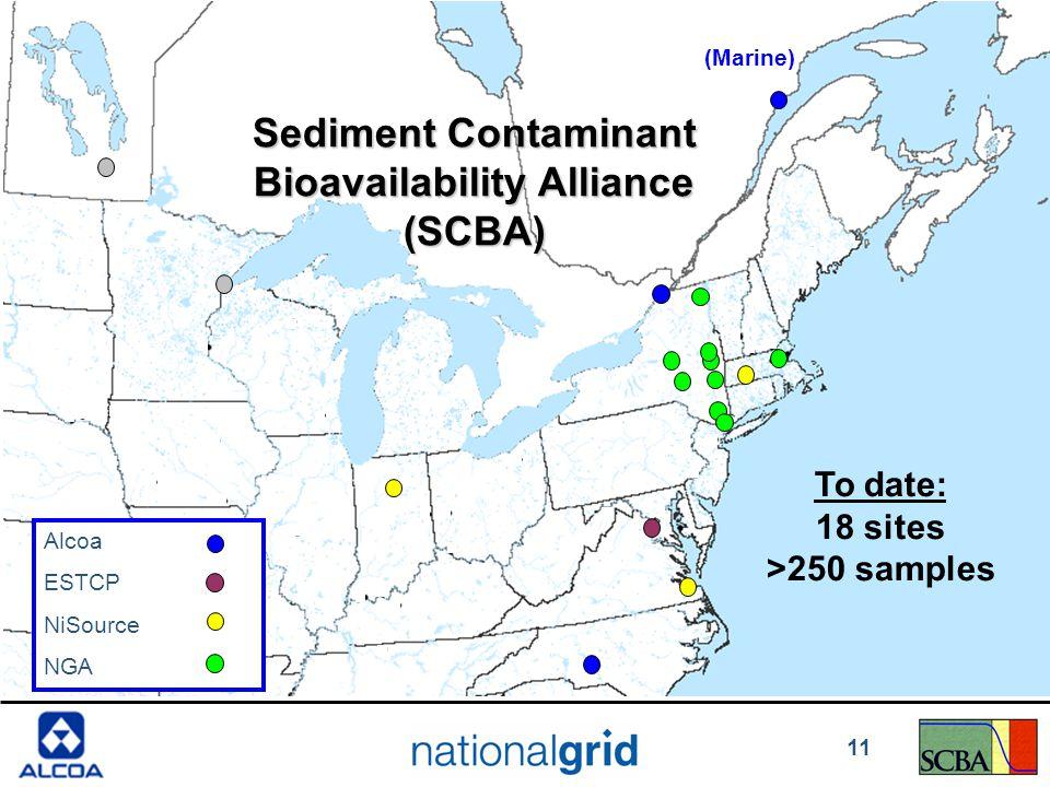 Alcoa ESTCP NiSource NGA (Marine) Sediment Contaminant Bioavailability Alliance (SCBA) To date: 18 sites >250 samples 11