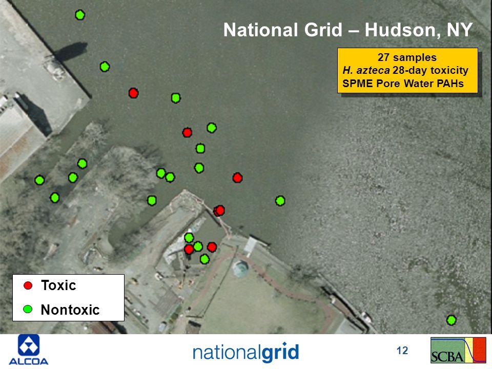 Toxic Nontoxic National Grid – Hudson, NY 27 samples H. azteca 28-day toxicity SPME Pore Water PAHs 27 samples H. azteca 28-day toxicity SPME Pore Wat