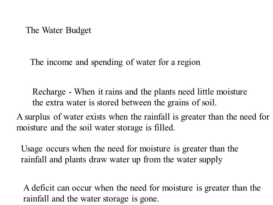 The Water Budget The income and spending of water for a region Recharge - When it rains and the plants need little moisture the extra water is stored between the grains of soil.