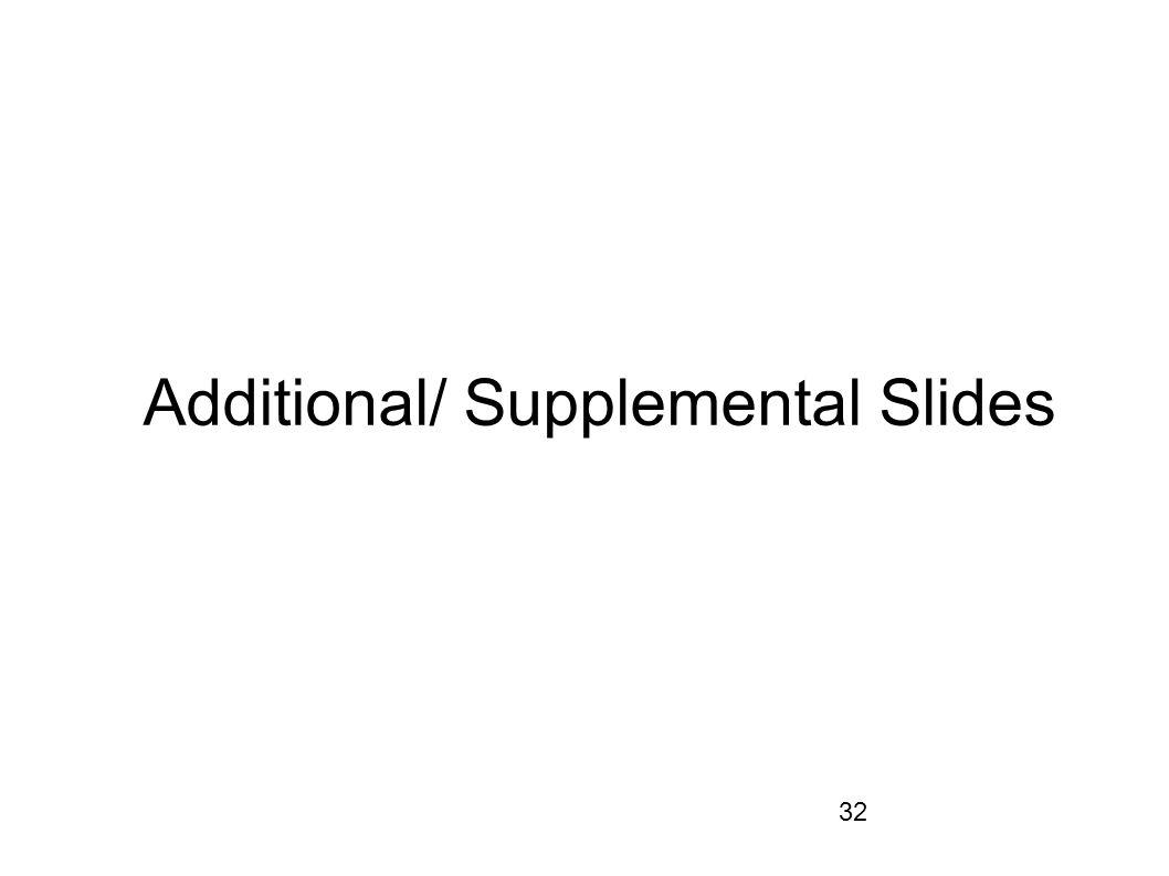 32 Additional/ Supplemental Slides