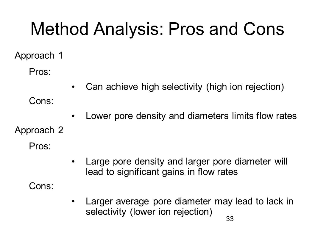 33 Method Analysis: Pros and Cons Approach 1 Pros: Can achieve high selectivity (high ion rejection) Cons: Lower pore density and diameters limits flow rates Approach 2 Pros: Large pore density and larger pore diameter will lead to significant gains in flow rates Cons: Larger average pore diameter may lead to lack in selectivity (lower ion rejection)