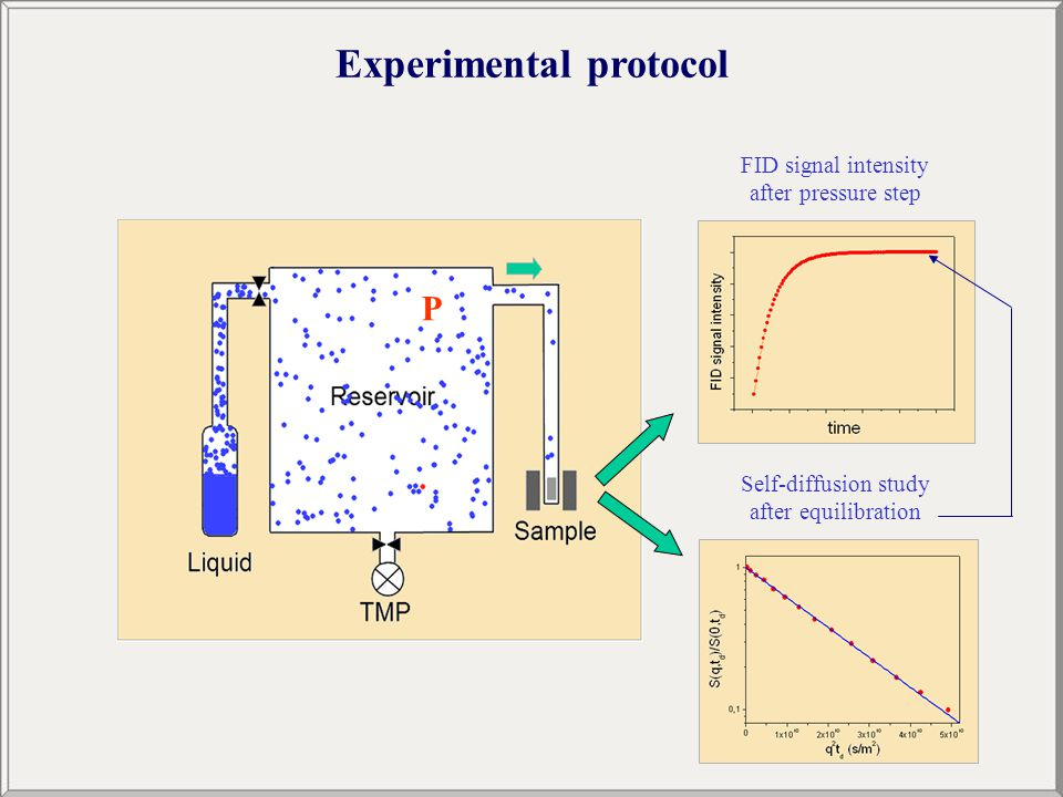 Experimental protocol FID signal intensity after pressure step Self-diffusion study after equilibration P
