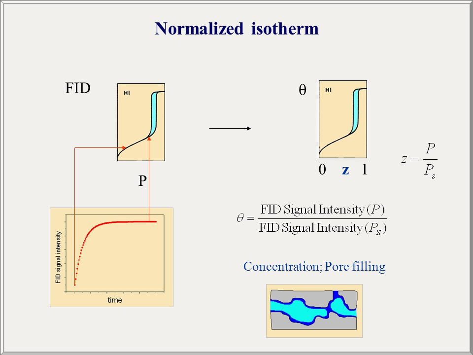 Normalized isotherm P FID 0 z 1  Concentration; Pore filling