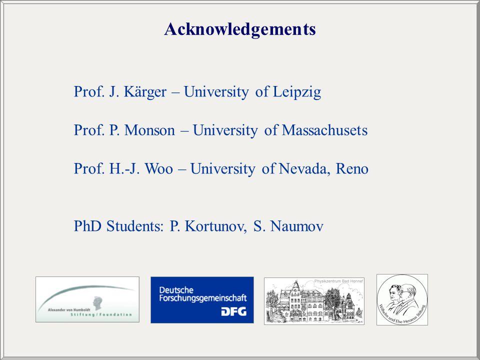 Acknowledgements Prof. J. Kärger – University of Leipzig Prof.