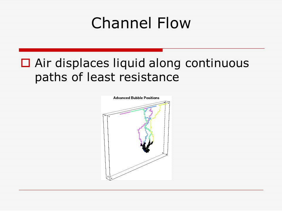Channel Flow  Air displaces liquid along continuous paths of least resistance