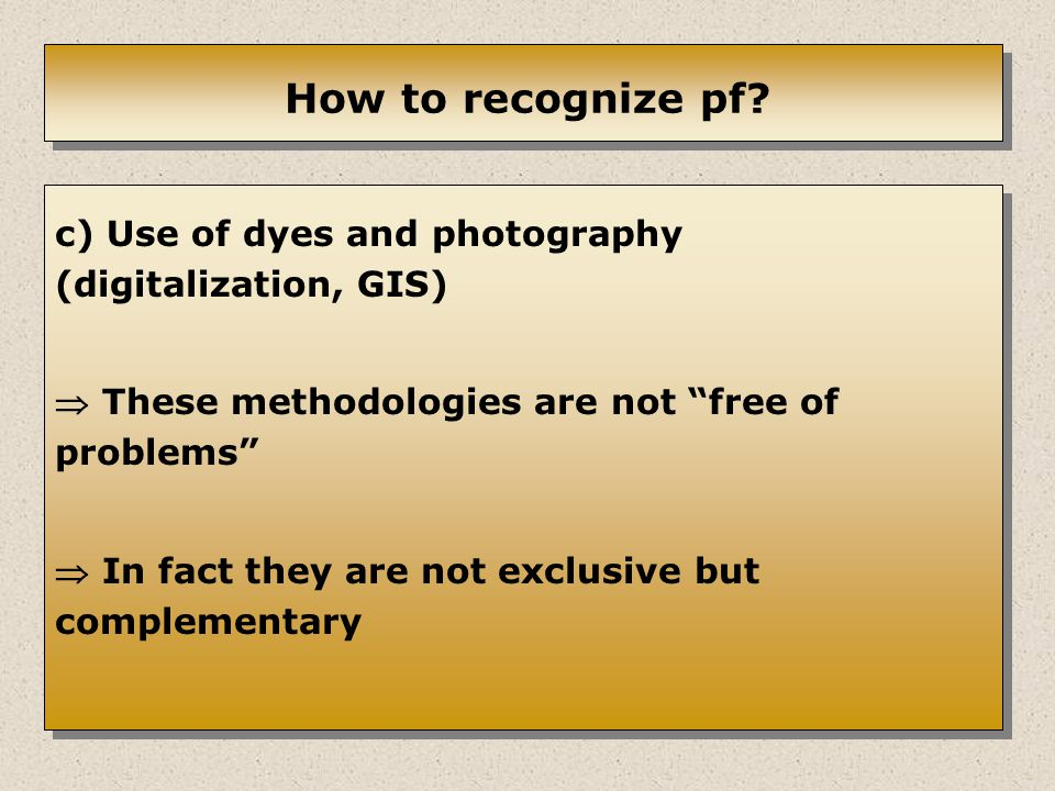 How to recognize pf.
