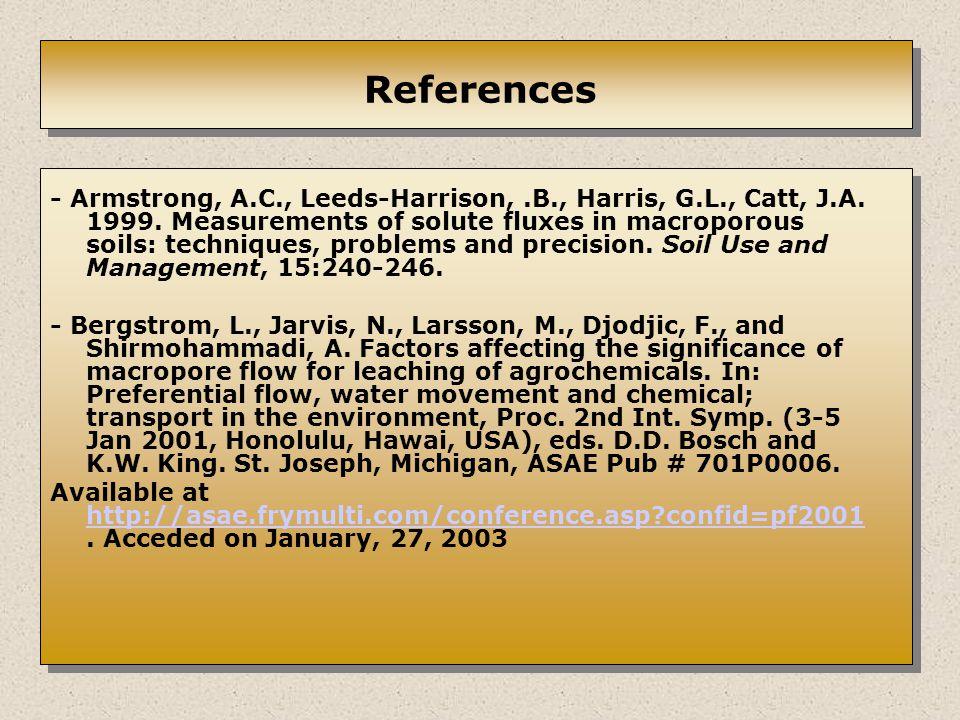 References - Armstrong, A.C., Leeds-Harrison,.B., Harris, G.L., Catt, J.A.